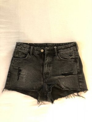 H&M High-Waist-Shorts dark grey-black