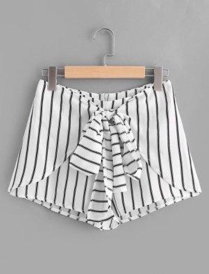 High Waist Shorts gestreift S 36 Weiß Schwarz Bindegürtel
