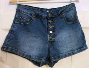Ware Denim. Pantalone a vita alta blu pallido-blu acciaio Cotone