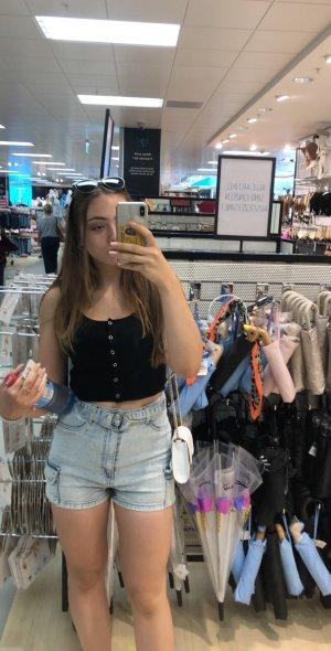 High- Waist Shorts,  hellblau