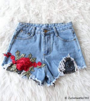 High Waist Shorts Hot-Pants mit Rosenstickerei XS