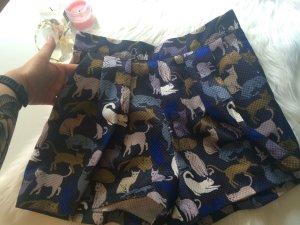 High Waist Shorts mit Katzenmuster