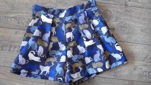 High Waist Shorts mit Katzenprint