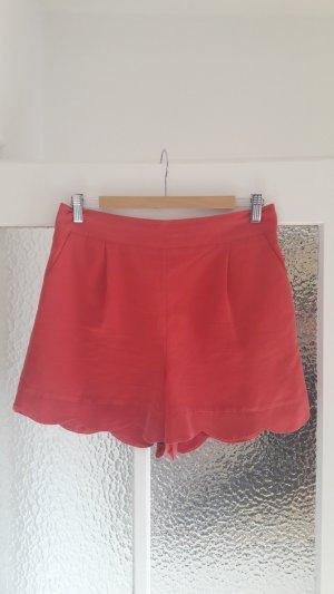 High Waist-Shorts mit Muschelsaum