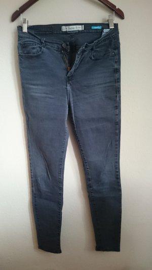 Zara Trafaluc Pantalon taille haute gris foncé-noir coton