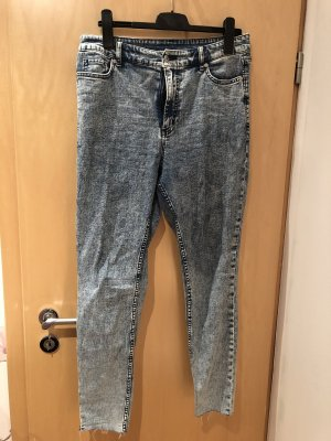 Hoge taille jeans blauw-wit