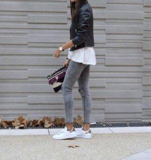 High Waist Skinny Jeans grau meliert