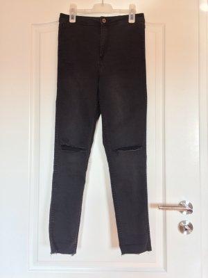 High- waist skinny jeans, schwarz, destroyed