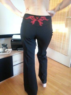 Pantalon à pinces noir-rouge