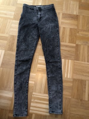 High Waist, Stretch, Acid Wash, Topshop, Gr. 28, grau