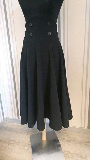 Falda de talle alto negro tejido mezclado