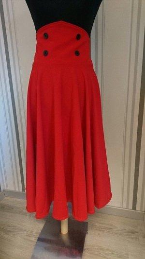 Falda circular rojo tejido mezclado