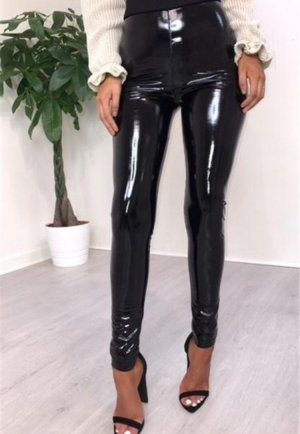 High Waist Women Leather Leggings schwarz elastisch