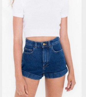 High-waisted dunkelblaue denim Shorts von American Apparel