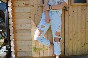 Jeans a vita alta blu neon-azzurro
