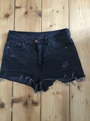 High Waisted Jeans Shorts Hotpants 36 S H&M used schwarz