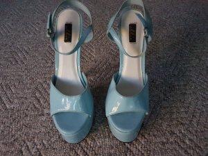 Platform High-Heeled Sandal light blue leather