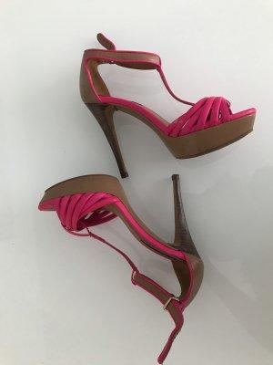 Zara Sandalo con plateau fucsia neon-marrone chiaro