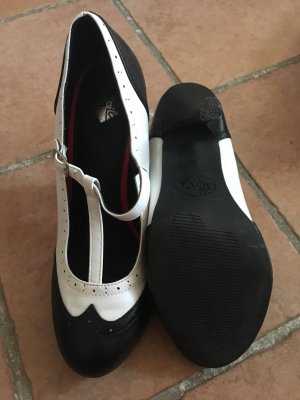 Zapatos de tacón con barra en T blanco-negro