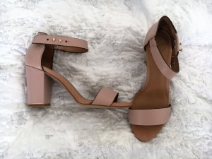 Highheels / Pumps / Sandalen / Peeptoes mit Blockabsatz in Nude / Rosa