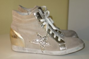 Wedge Sneaker gold-colored-beige suede