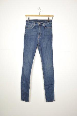 Weekday Hoge taille jeans donkerblauw-neon blauw