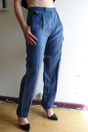 HIGHWAIST Bundfaltenhose blau Leinen
