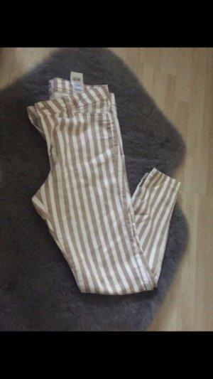 Vero Moda Pantalón de cintura alta blanco-marrón arena