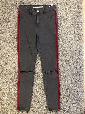Zara High Waist Trousers dark grey-red