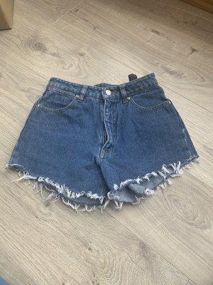 Pantalón corto de talle alto azul oscuro-azul