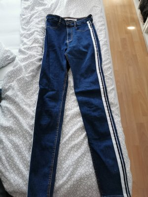 Zara Hoge taille jeans wit-blauw