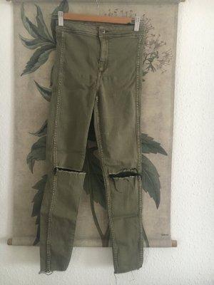 Highwaist Jeans destroyed khaki camo 34 XS