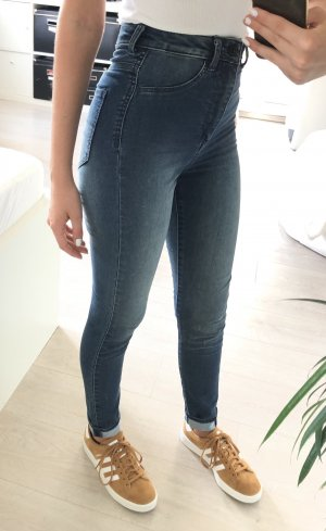 H&M Hoge taille jeans donkerblauw-blauw