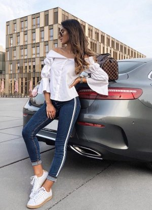 Zara Vaquero de talle alto azul oscuro-blanco