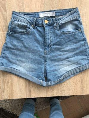 Amisu Pantalon taille haute bleu azur