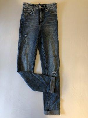 H&M Hoge taille jeans blauw-staalblauw