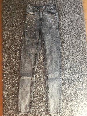 H&M Hoge taille broek grijs-zilver