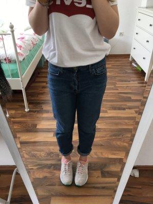Highwaist Mom Jeans Jeans Blau, Straight Leg, Vintage Gr. 36 - L. 30, Blogger