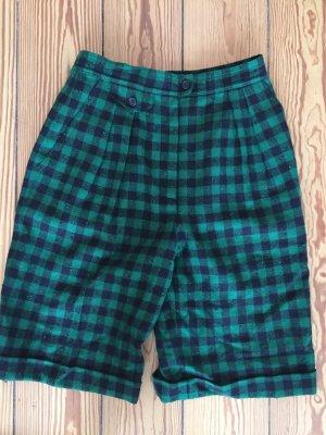 Highwaist-Shorts, kariert, Rena Lange, grün, schwarz, Wolle, Vintage