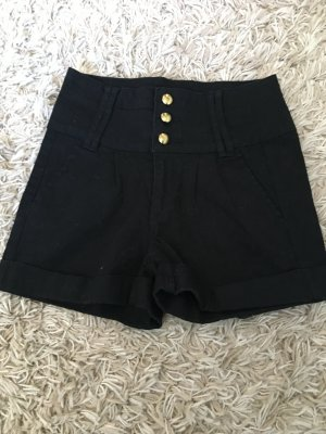 Pieces High-Waist-Shorts black-gold-colored