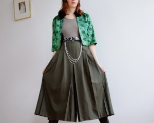 highwaist woll culottes hose khaki plissee khaki grün S 38