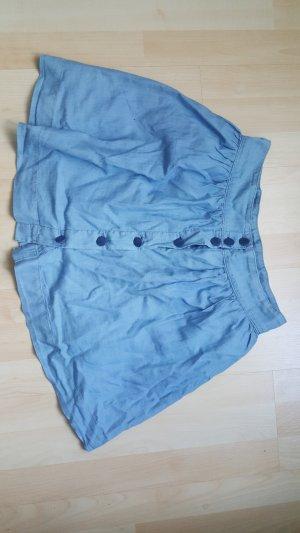 H&M Falda de talle alto azul