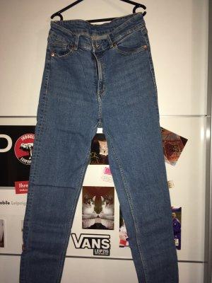 Monki Hoge taille jeans donkerblauw