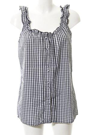 Hilfiger ärmellose Bluse schwarz-weiß Karomuster Casual-Look
