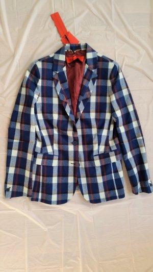 Hilfiger Collection, Blazer, Schurwolle, blau-weiß-bordeaux kariert, 38 (US 8), neu