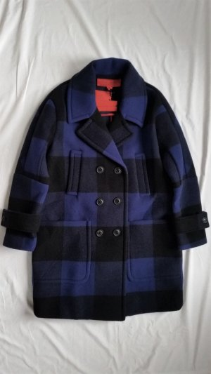 Hilfiger Collection, Bonded Wool Coat, blau-schwarz, oversized, 32, neu, € 900,-