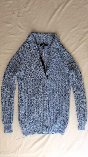 Hilfiger Collection Veste tricotée en grosses mailles bleuet-blanc coton