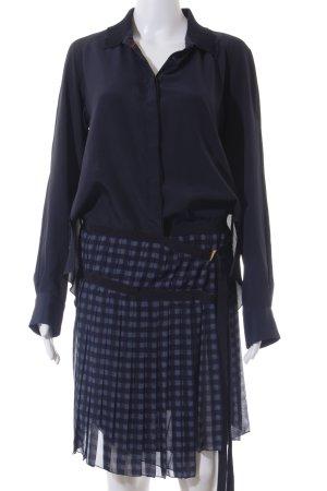 Hilfiger Collection Langarmkleid dunkelblau-blau Karomuster Elegant