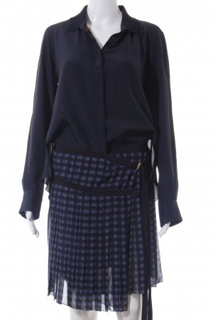 Hilfiger Collection Langarmkleid dunkelblau-blau Karomuster Elegant