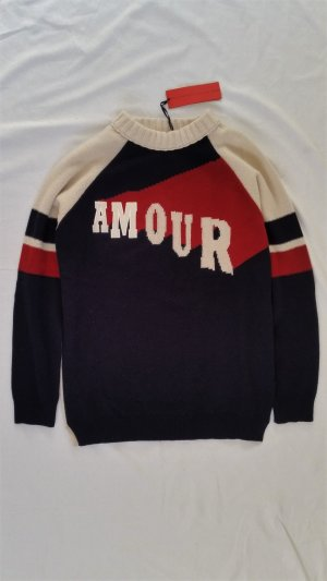 "Hilfiger Collection, Pullover ""Amour"", offwhite-navy-rot, M, Wolle/Cashmere, neu"